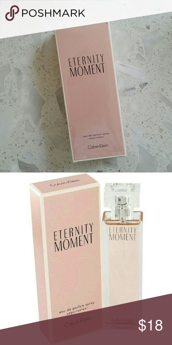 Calvin Klein Eternity Moment perfume Condition: Brand new.  Calvin Klein Eternity Moment perfume 3.4oz/ 100ml  Eternity Moment Perfume by Calvin Klein, Eternity moment, by the design house of calvin klein was introduced in 2004 as a fun, flirty fragrance for women . Luxurious, and senseous this feminine scent is a dazzling oriental, floral aroma. A romantic blend of asian fruits with subtle undertones of musk and raspberry. Calvin Klein Other