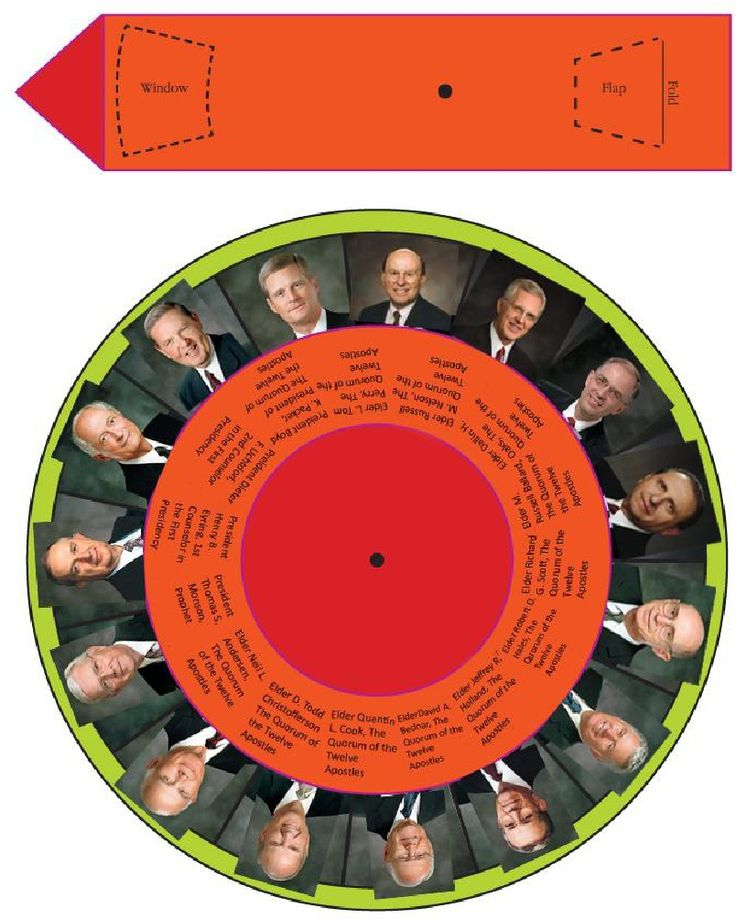 General Conference Apostle Wheel, updated for 2012; turn the arrow to show the current speaker - nice for little ones