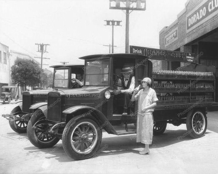 Orange Crush Soda Delivery Truck Vintage 1920s 8x10 Reprint Of Old Photo This is an excellent reproduction of an old photo on quality photography paper not cheap ink jet stock. Size 8x10 Reprint Of in