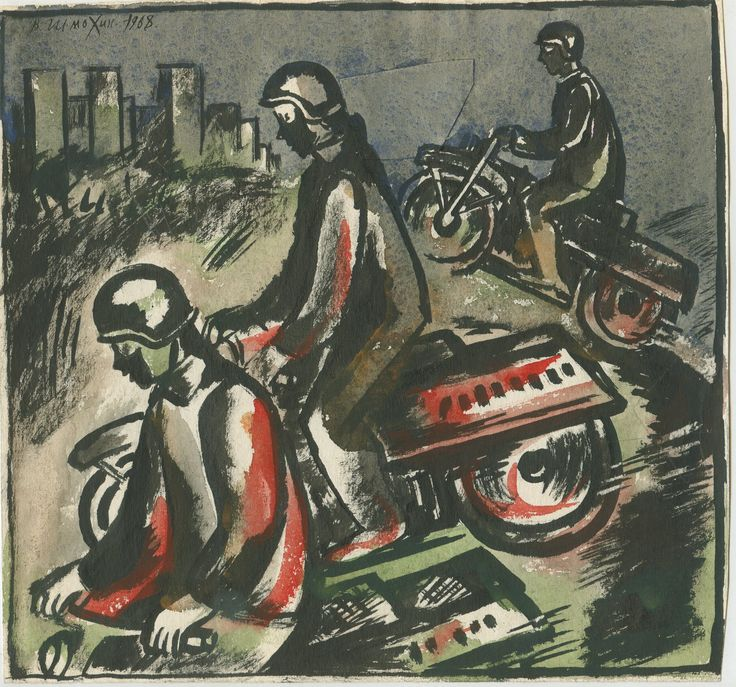 "Victor Shmokhin  ""Мотоциклисты в городе"" 1968г. Бумага /тушь, акварель. 20,0 х 21,5 (№4,189)"
