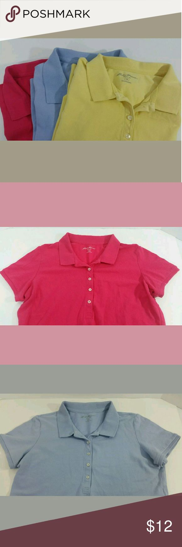 3 Eddie Bauer Ladies Polo Shirts Lot of 3 Eddie Bauer Ladies Polo Shirts  Material: 95% cotton, 5% spandex  Pink, yellow & light blue Eddie Bauer Tops Tees - Short Sleeve