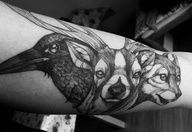 Animals - Tattoo - Head - Raven - Hart - Wolf