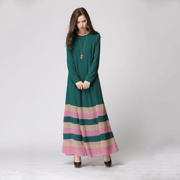 2017 Vestidos De Festa Summer Dress Retail Women Sheer Chiffon Islamic Wear Abaya Jilbab Hijab Muslim Rainbow Dress M/L