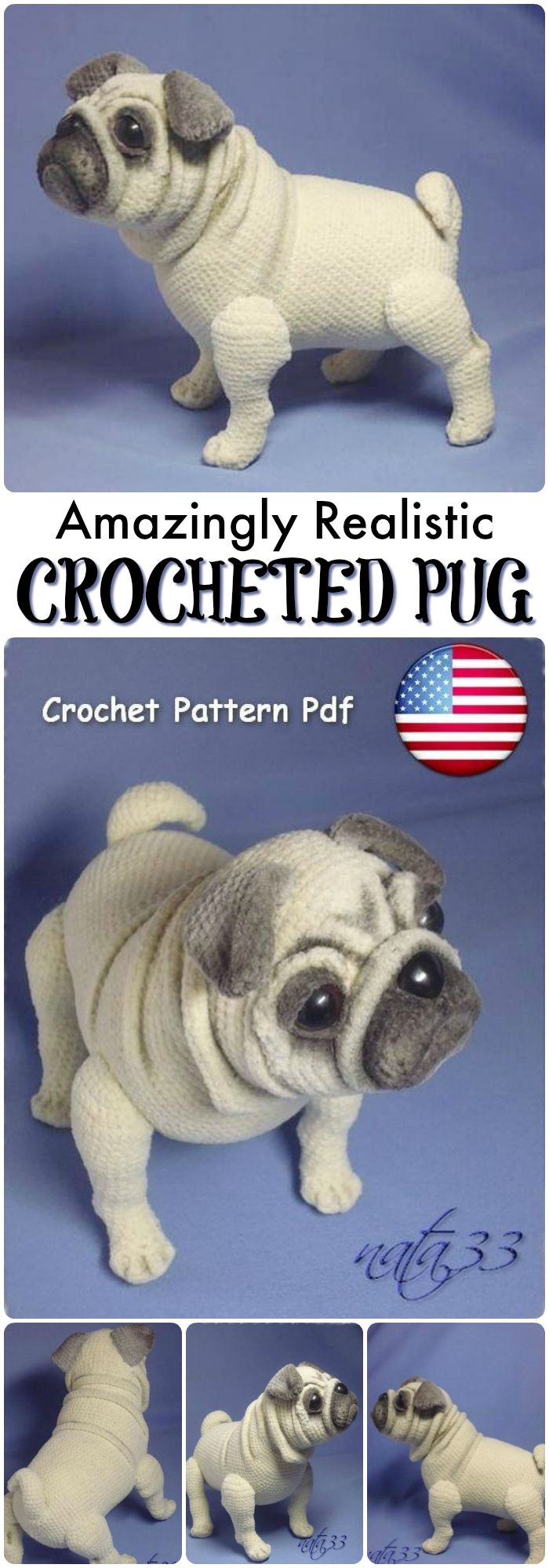 Wow! This pug dog is AMAZING! He looks just like a real dog! 15 pages of pattern and more than 20 pictures to help you make this stunning pug dog! Wow! This is so great. #etsy #ad