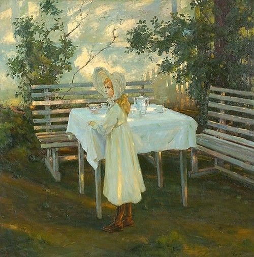 Thorolf Holmboe (1866-1935) - Little girl at the tea table in the garden, 1905