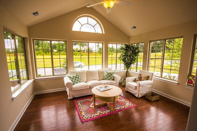 Four season room in a ranch home at Villas at Sedgefield in North Carolina #seaonal #room #fourseasonroom
