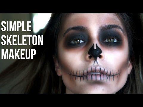 Simple Skeleton Makeup// Last Minute Halloween - YouTube