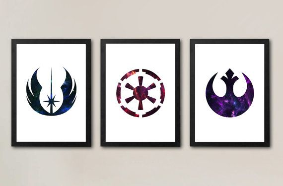 Star Wars symbole affiches (lot de 3) ordre Jedi, Sith / Galactic Empire, Alliance rebelle