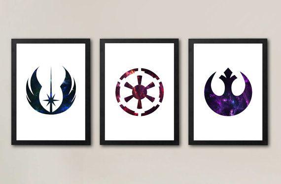 Star Wars symbole affiches (lot de 3) ordre Jedi, Sith / Galactic Empire, Alliance rebelle