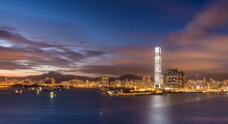 Гонконг, Китай, Гавань Виктория, залив, вечер, небо, облака, закат, мегаполис, небоскребы, огни, обои, картинки, фото