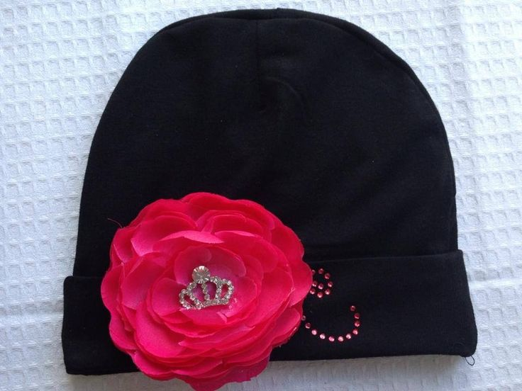 Monogrammed cotton hat with tiara bling