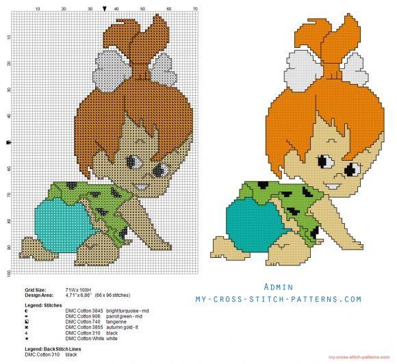 Pebbles Picapiedra Pebbles Flintstone-Rubble Los Picapiedra patron punto de cruz (click to view)