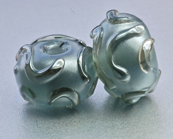 metallic silver luster beads handmade lampwork glass by paulbead, $12.00