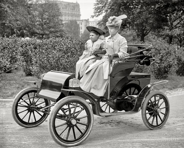 """Washington, D.C., circa 1905. """"Women in Pope-Waverley electric runabout."""" Seems like the electric car is coming back, Should have  saved a lot of gas and never stopped making them."""