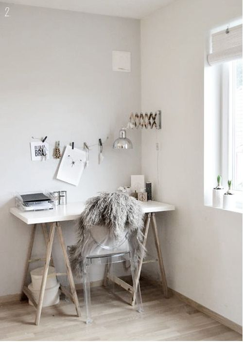 Love the wall colour shades and sheep skin rug. White, yet warm feeling.