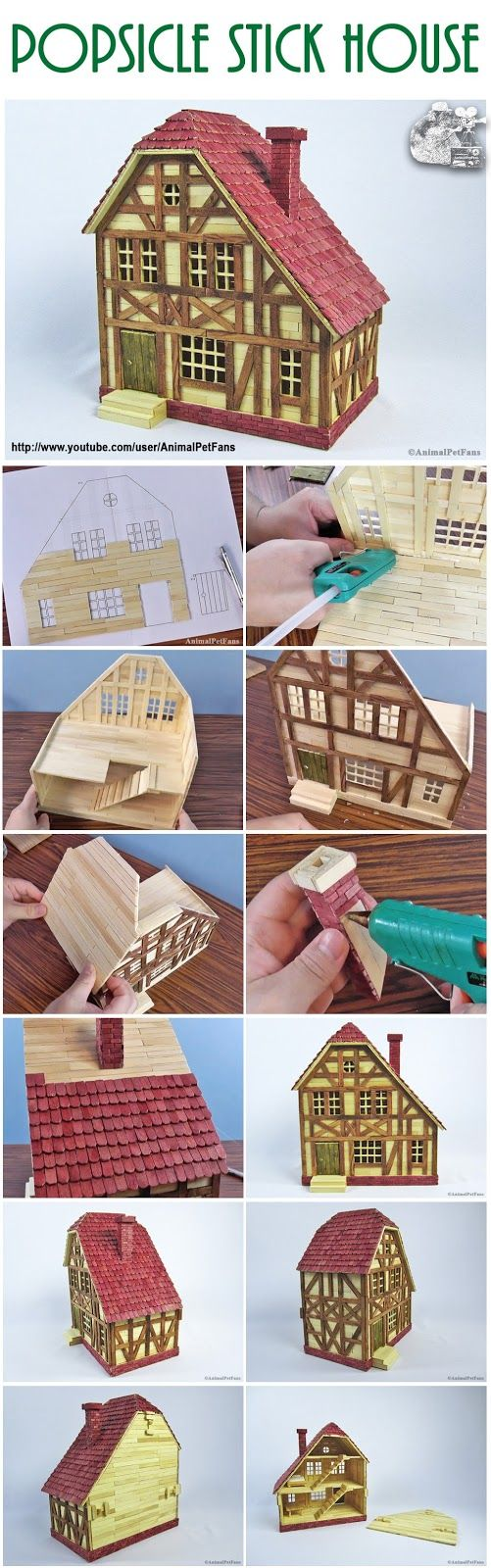 Popsicle stick house for hamster Construindo