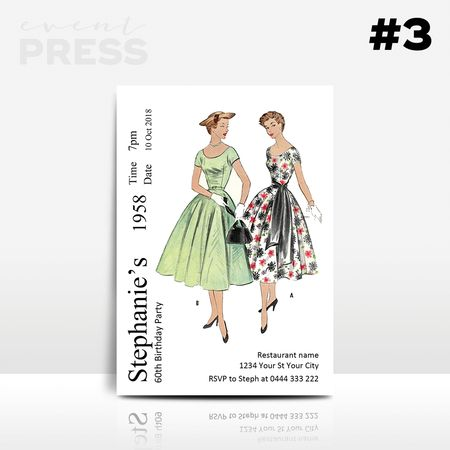 Dress Pattern Birthday Invitation   Event Press  Digital design can be found at www.ellenphantdesigns.etsy.com    Vintage, retro, Sewing, craft, adult, 40, 50, 60, birthdays