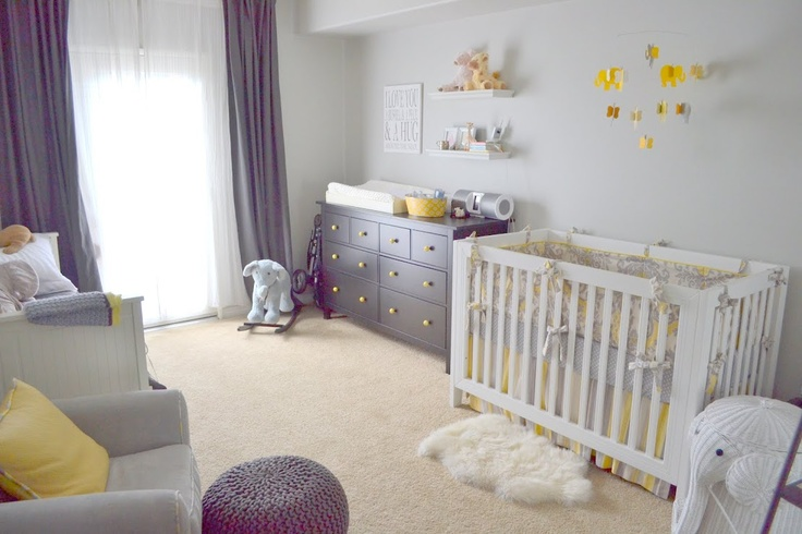 Baby nursery with grey cream yellow colors i made the for Bedroom ideas for babies