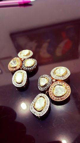 Indian Wedding Jewelry - Polki Earrings | WedMeGood Polki 4 stone earrings with diamond around  #wedmegood #jewelry #polki #kundan #diamonds
