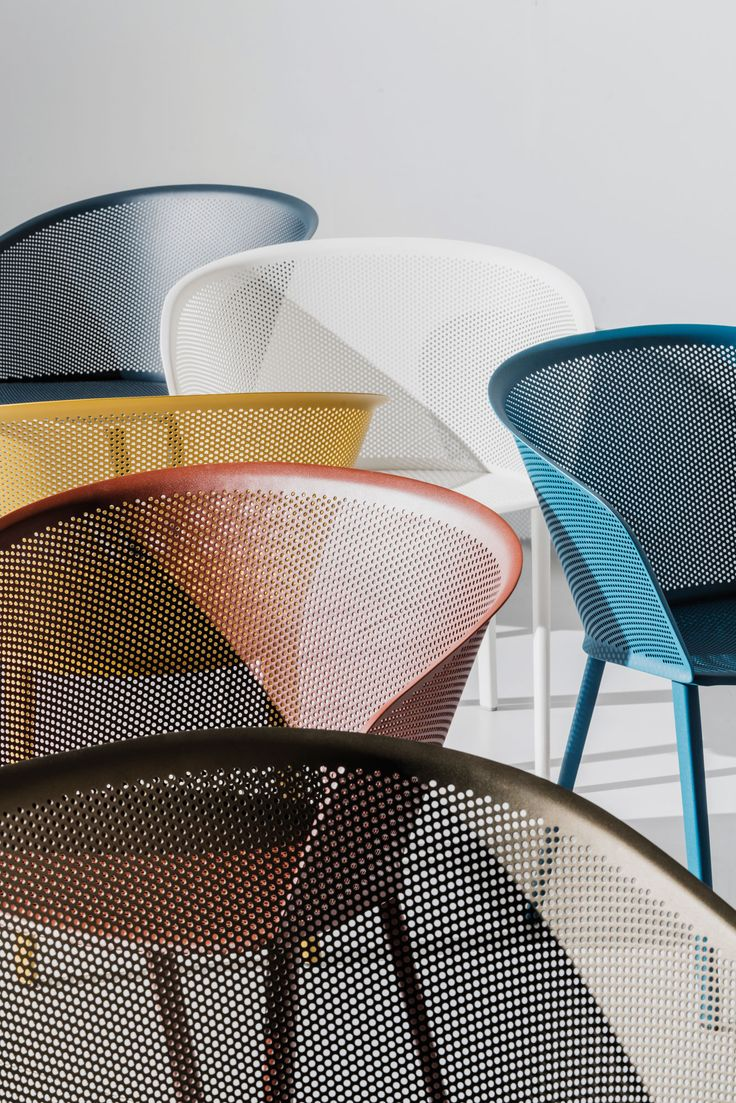 Kettal - stampa - Bouroullec - chair - armchair - outdoor - terrace - furniture - metal shell - perforated - green - blue - yellow - red - white - black