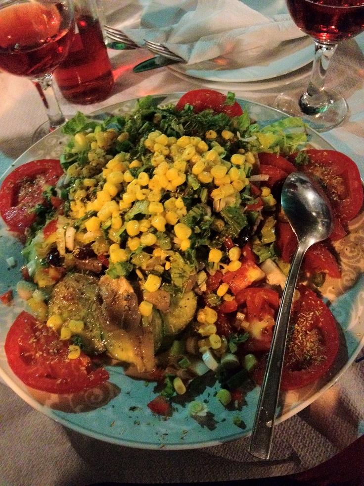 Mixed salad with beans, at Sa Ga Pwww in Naxos Island, Greece