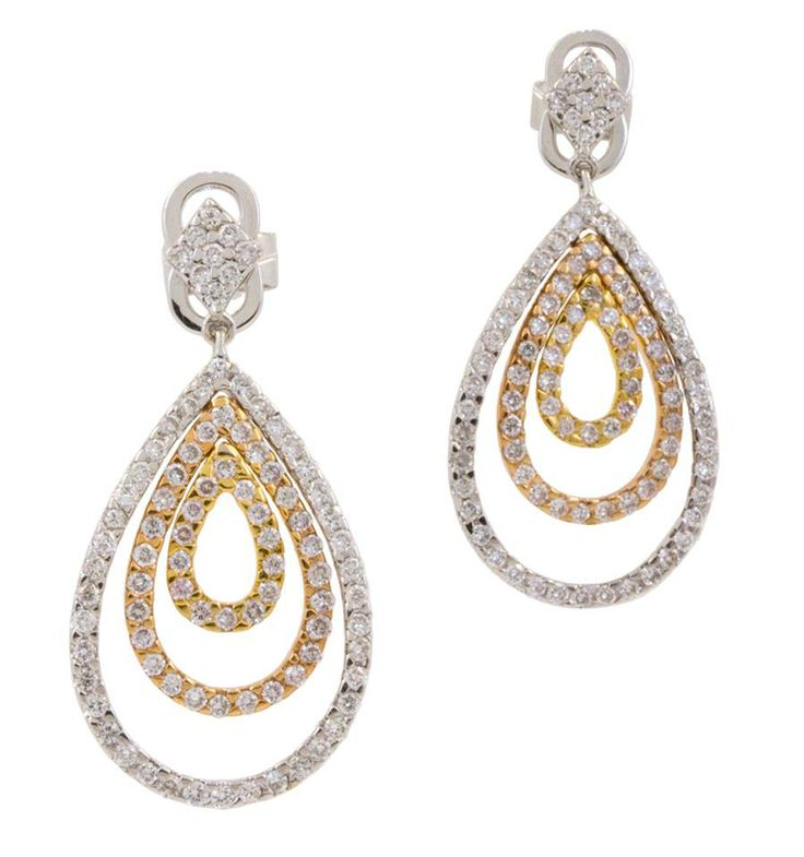 Are you taking her out on a night on the town for her special day? Well these earrings with dazzle on her ears, just like she dazzles on your arm. 18k Tri-tone earrings featuring 0.90cts of white diamonds. www.gembycarati.com www.facebook.com/gembycarati