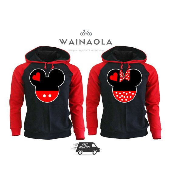 Mickey and Minnie Head Couple Raglan Hoodies Couple Clothing Matching Clothes Gifts for Couples Pärchen Look Matching Couple Cute Disney
