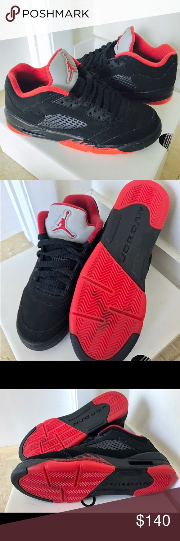 "Air Jordan Retro 5s Low Top Sneakers ! LIKE NEW! Air Jordan Retro 5 ""Alternate 90"" Black and Red! These shoes are in perfect condition!! I wore them ONCE! Bought them at Flight Club in NYC for $180. They've been in a box and well taken care of ever since! This shoe is also sold out on all websites. Considering offers. They are a size 6 in men which means they fit a regular size 7.5-8 in women! Jordan Shoes Sneakers"