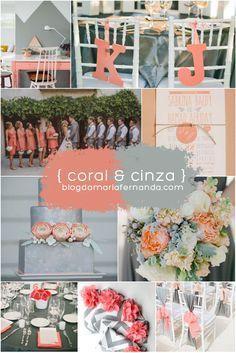 Decoração de Casamento Paleta de Cores Coral e Cinza | Inspiration Board Wedding Peach and Grey blogdamariafernanda.com