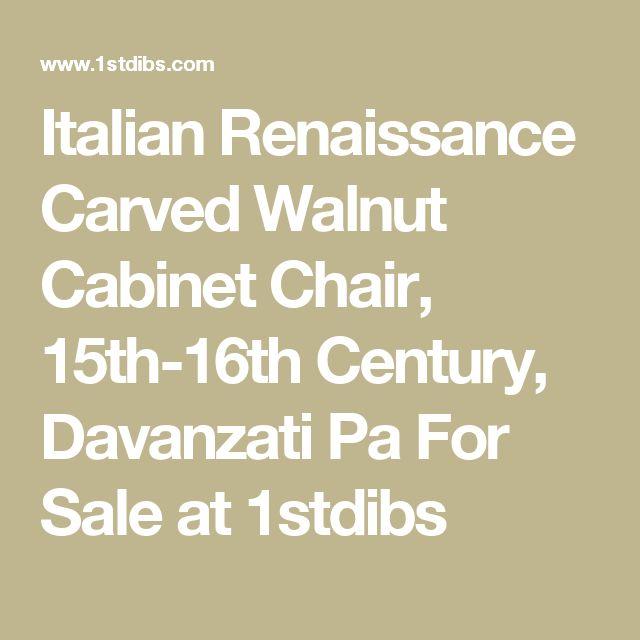 Italian Renaissance Carved Walnut Cabinet Chair, 15th-16th Century, Davanzati Pa For Sale at 1stdibs