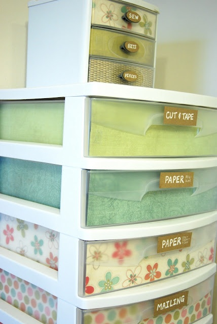 Pretty Organizer Drawers -- good idea for plastic shoe boxes too