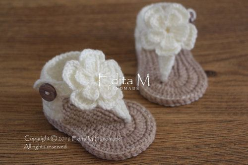 Buy Now Crochet baby sandals gladiator sandals ivory sandals...