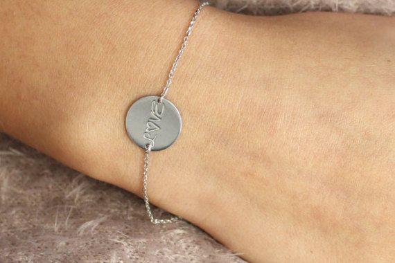 Engraved Bracelet, Custom Silver Bracelet, Personalized Bracelet, Custom Gold Bracelet, Silver Disc Engraved, Dainty Custom Bracelet, SB0032