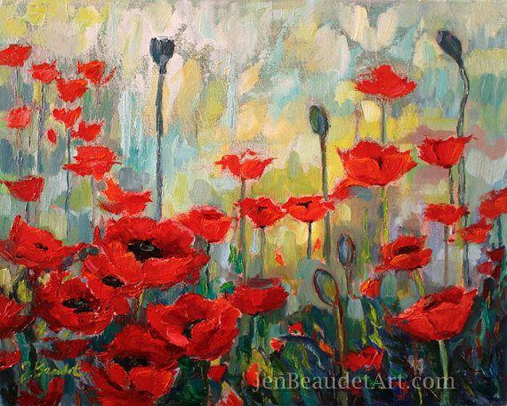 Original #modern #impressionist #Poppies #poppy oil by Jen ...