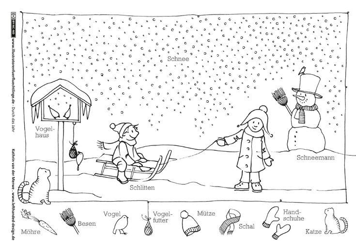Download als PDF:Durch das Jahr – Winter Schlitten Schneemann – van der Merwe