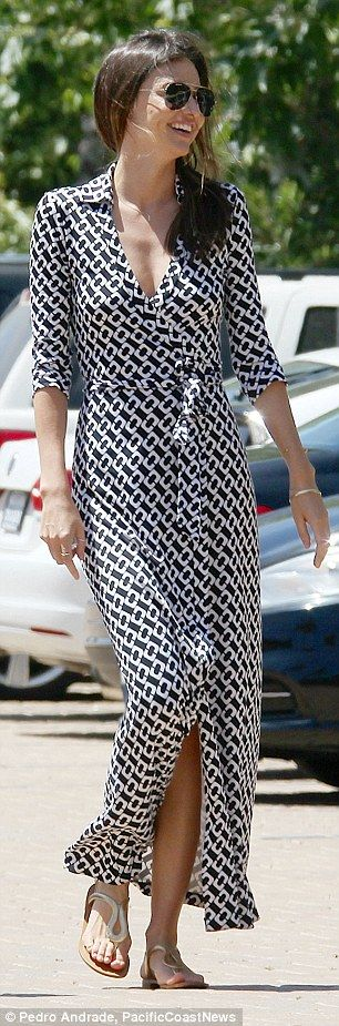 Monochrome magic: Miranda's ankle length  summer dress featured a white chain-like pattern...