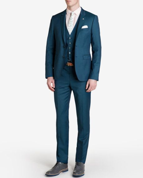Wool suit jacket - Teal | Suits | Ted Baker