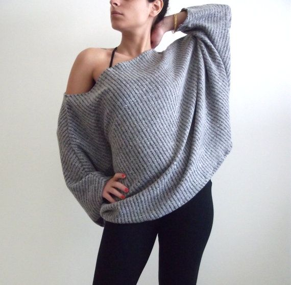 Oversize Grey  Knitted Top Dolman oversize Grey  knitted by onor: Knits Over, Grey Knits, Knits Tops, Dolman Oversized, Oversized Grey, Tops Dolman, Over Grey, Over Tops, I D Wear