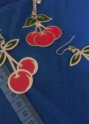Kup mój przedmiot na #vintedpl http://www.vinted.pl/akcesoria/bizuteria/10369127-kolczyki-wisior-naszyjnik-wisnie-pin-up