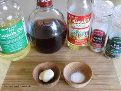 Fran's Simple Vinaigrette: 1/2 cup canola oil 3 tbsp seasoned rice ...