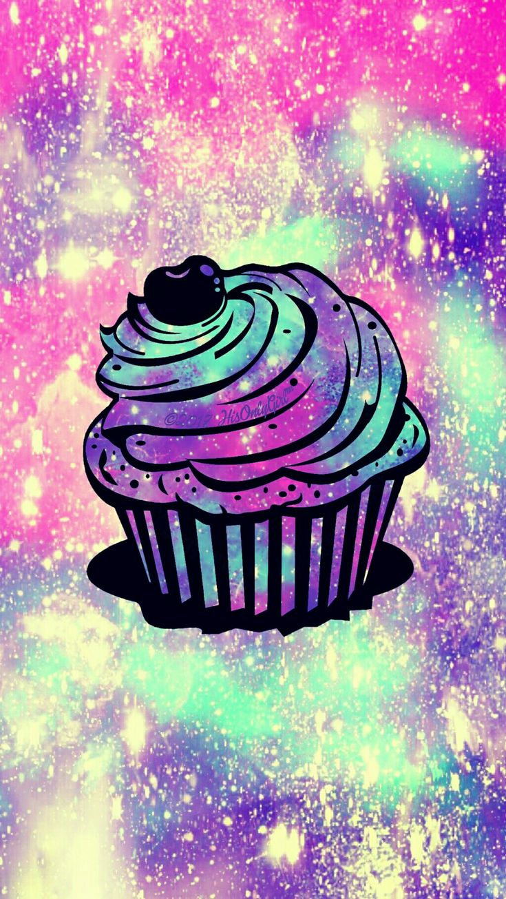 Sweet cupcake galaxy iPhone/Android wallpaper created for