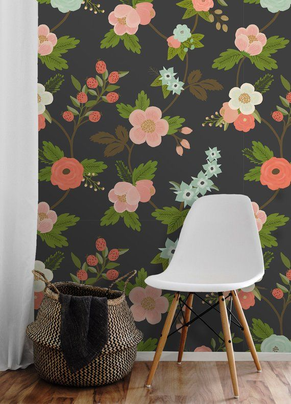 Flora Easy To Apply Removable Peel N Stick Wallpaper Peel N Stick Wallpaper Pink Removable Wallpaper Removable Wallpaper