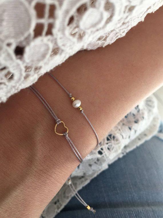 Gold heart bracelet, Tiny bracelet, Friendship bracelet, Gift jewelry