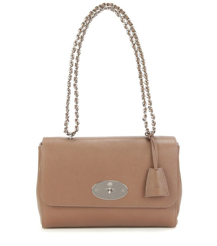 Mulberry - Medium Lily leather shoulder bag - Introduce earthy taupe into your sophisticated daytime silhouettes with Mulberry's 'Lily' leather shoulder bag. Note the ladylike detailing, like the silver-tone logo turn-lock fastening and laced chain-link handles, guaranteed to grace your wardrobe for seasons to come. seen @ www.mytheresa.com