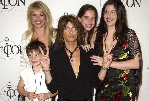 Steven Tyler and his son Taj, wife Teresa, and daughters Chelsea and Mia arrive at