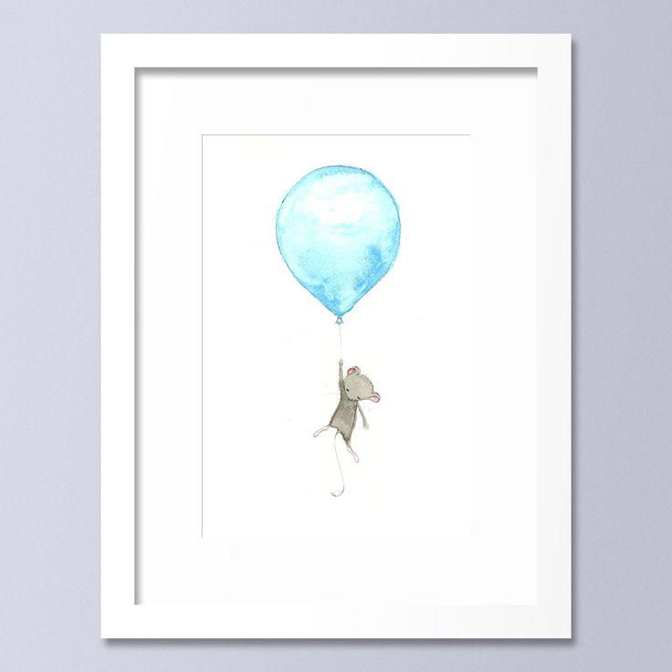 Nursery Illustration, Animal Nursery Print, Balloon Print, Mouse, Nursery Painting, Watercolour, Kids Wall Art Animals by OneLittleBundle on Etsy