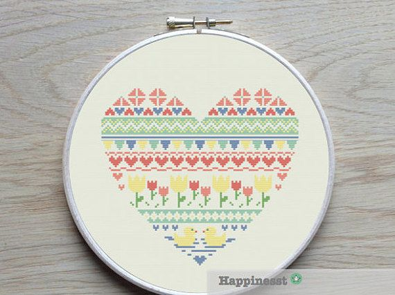 A modern heart in nordic folk art spring. The pattern comes as a PDF file that youll will be able to download immediately after purchase. In addition
