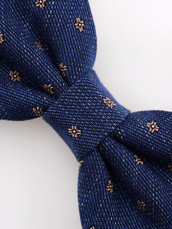 Light blue and orange bow tie in floreal pattern - Rosi Collection