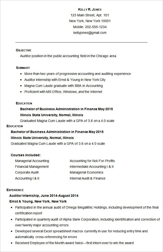 Accounting Resume Template u2013 11+ Free Samples, Examples, Format - audit templates free