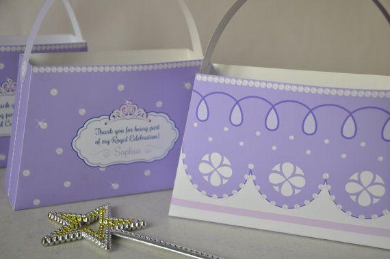 Princess Sofia the First inspired Purse Favor box - purple pdf printable party bag for Princess parties & sleepovers